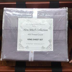 Cotten sateen king sheet set 400 ct plum purple